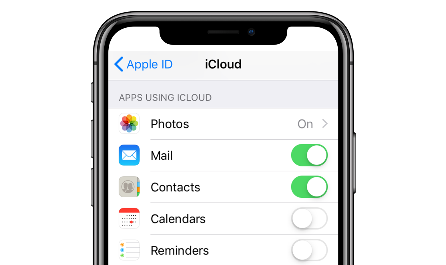 iPhone iCloud contacts sync
