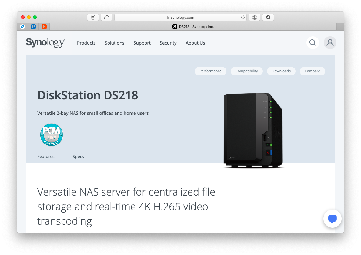Synology DiskStation DS218 Mac NAS drive storage