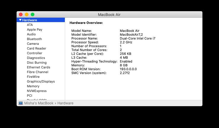 system information menu macOS