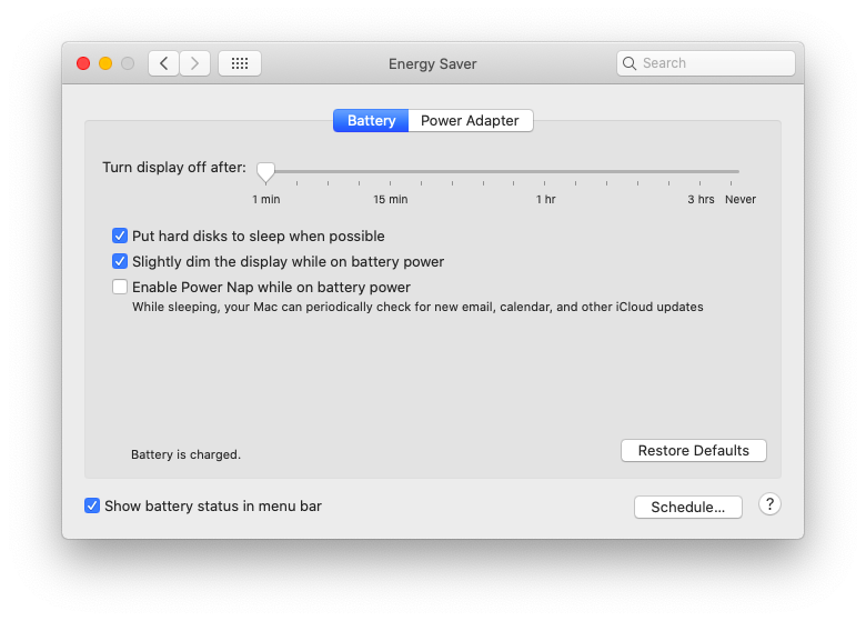 System Preferences Mac energy saver