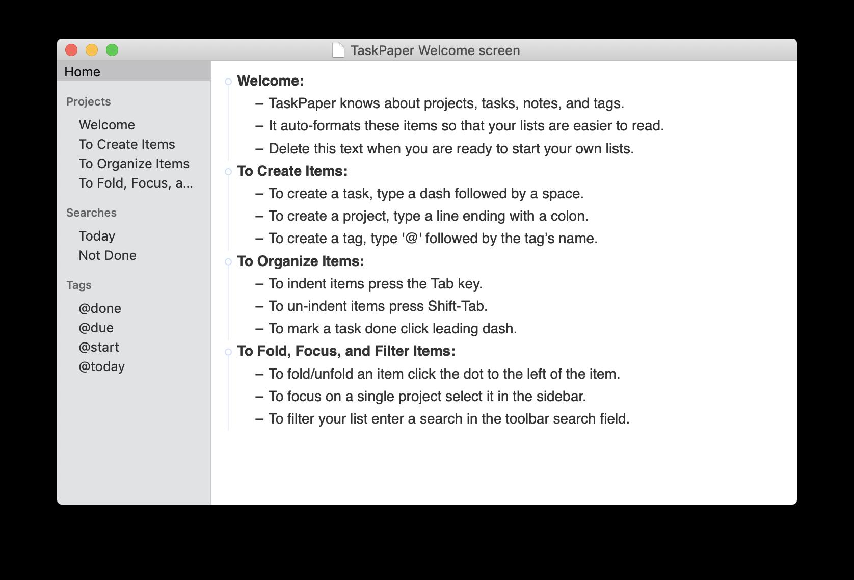 Writing brainstorming in TaskPaper app