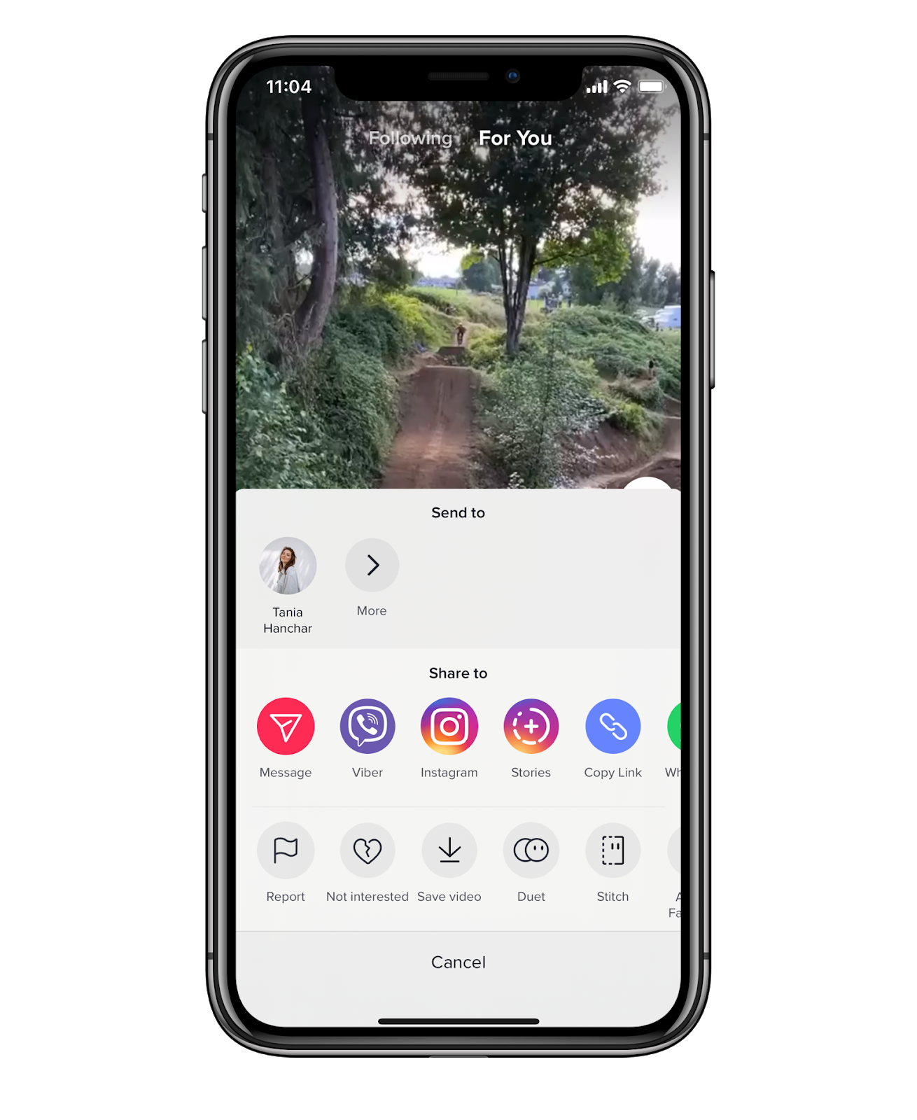 TikTok Send to option on iPhone