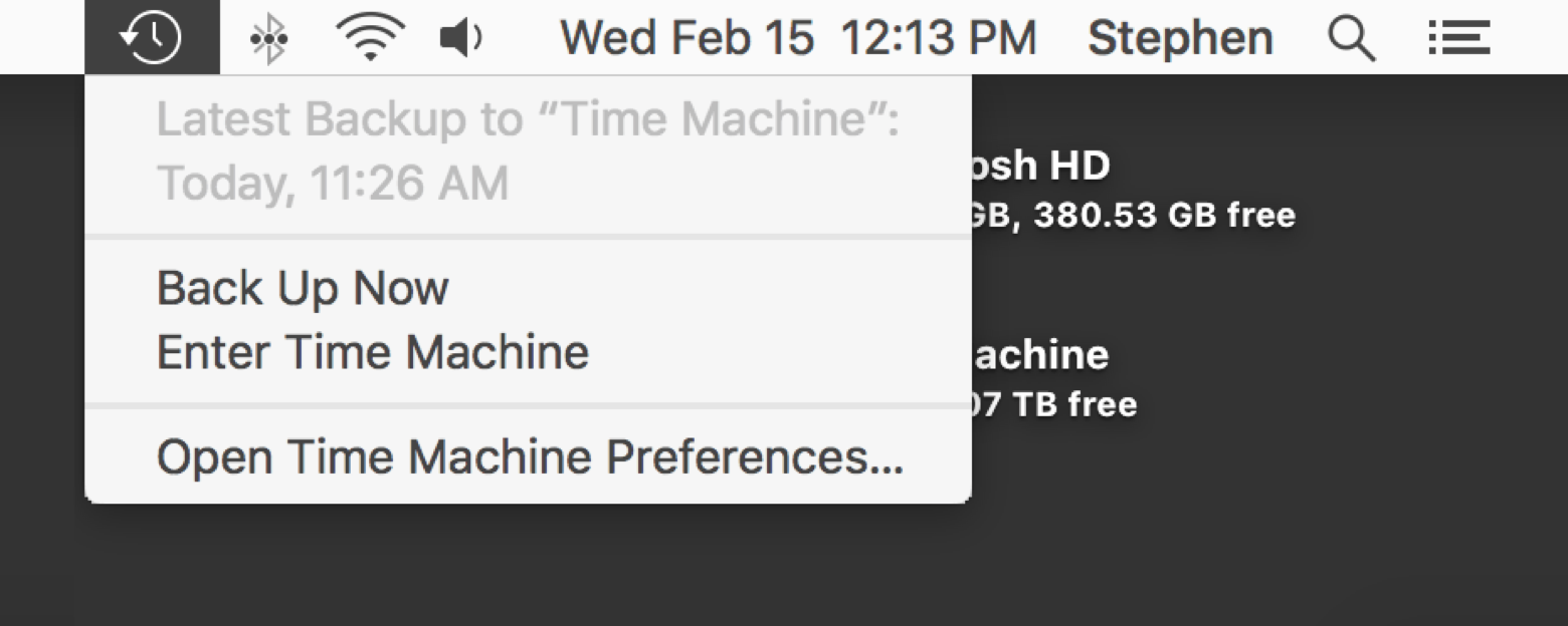 Open Time Machine to choose a backup