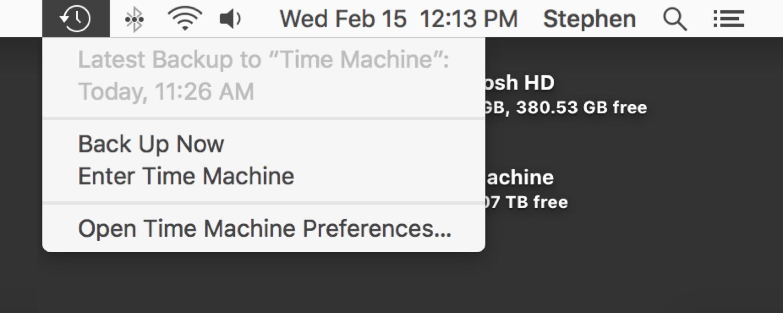 Abra o Time Machine para escolher um backup