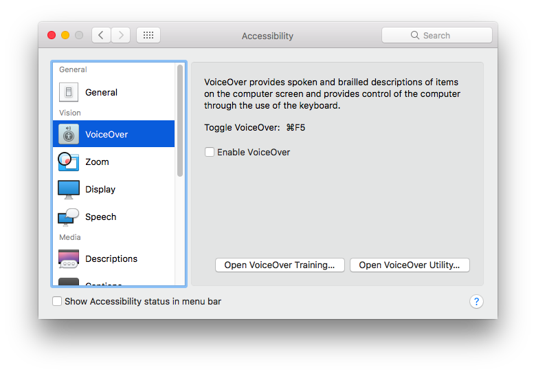 turn off VoiceOver Mac system preferences