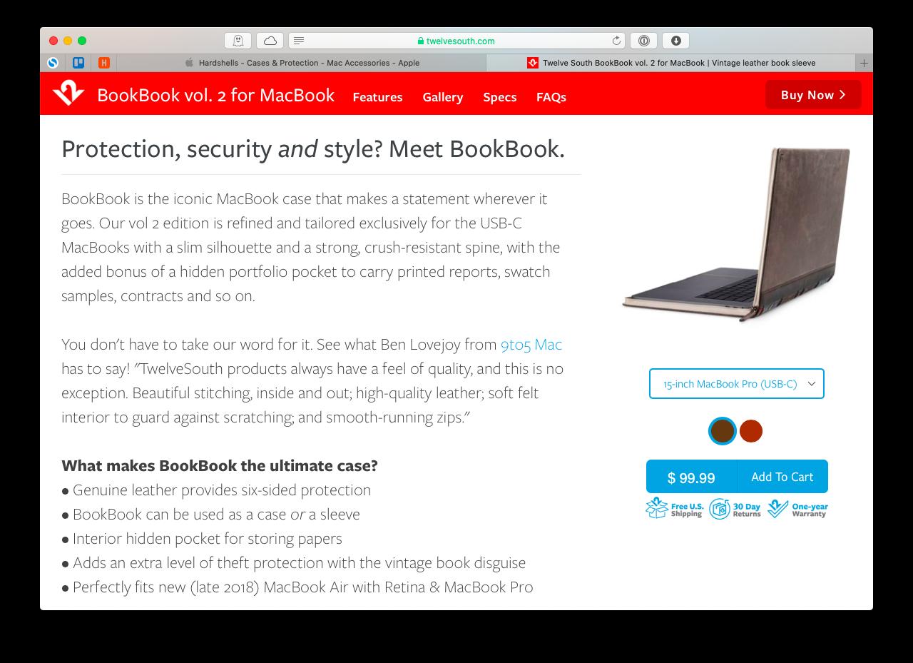 Twelve South BookBook cover MacBook