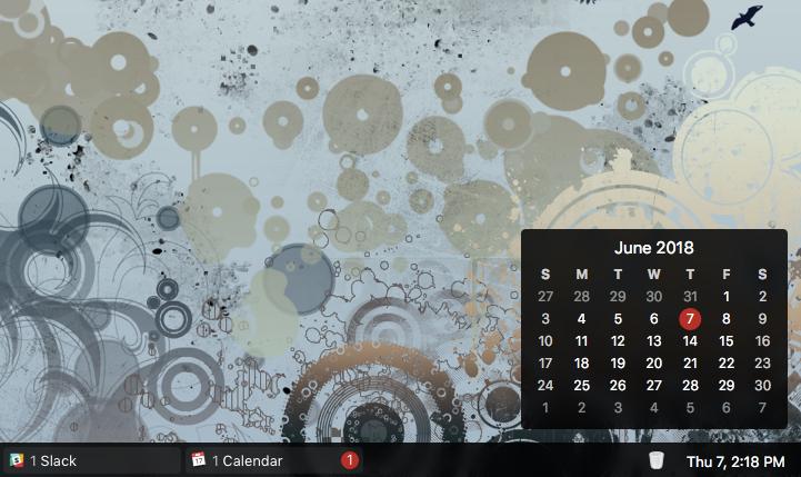 uBar quick calendar