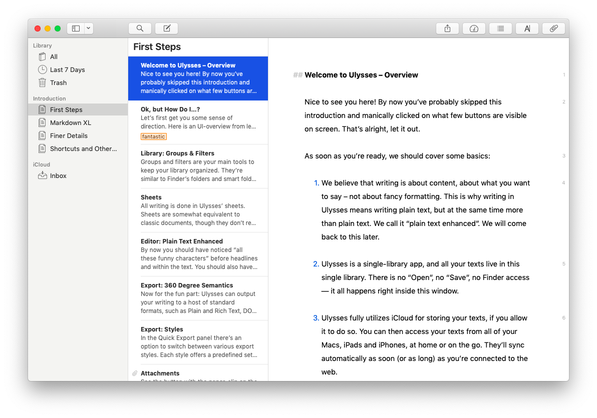 ulysses mac writing app