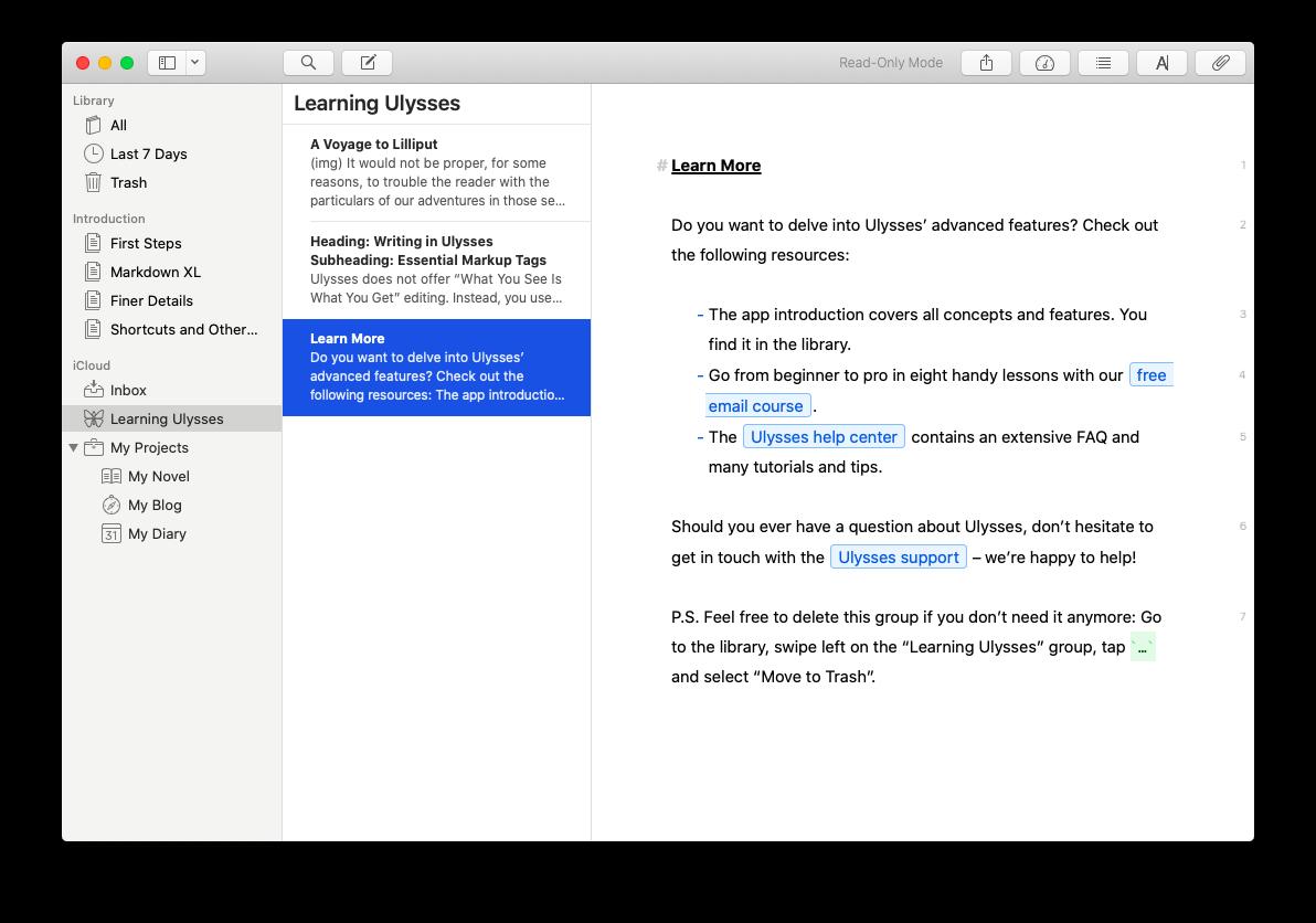 Ulysses writing app macOS