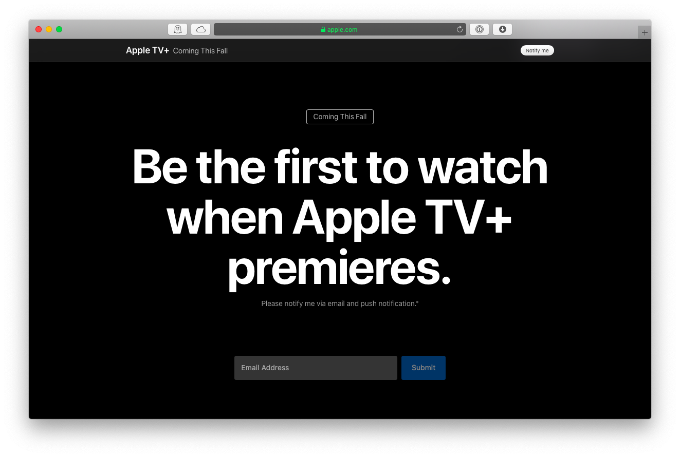 upcoming subscription Apple tv plus
