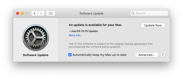 Update to macOS Catalina