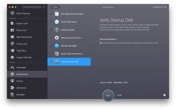 Verify Startup disk in CleanMyMac