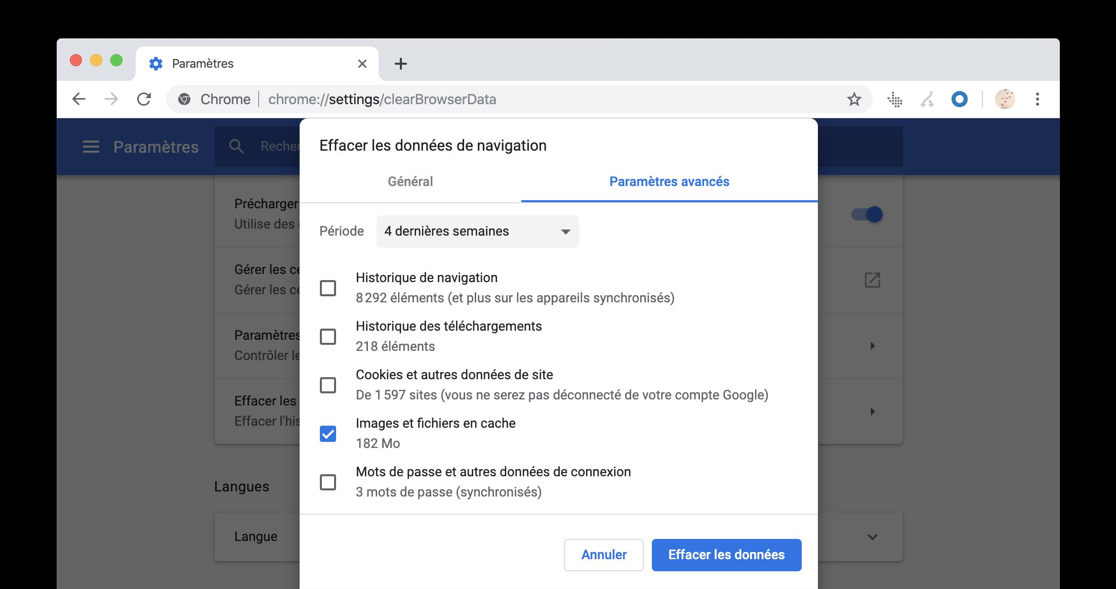 Vider le cache de Google Chrome
