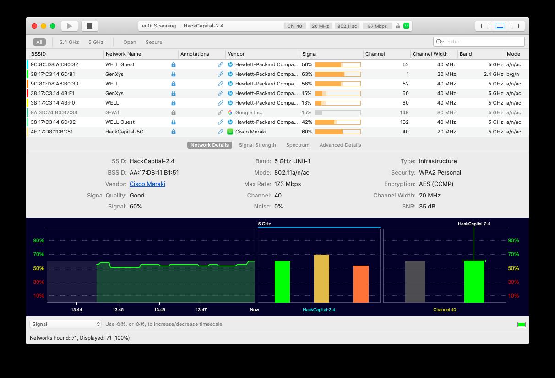WiFi explorer Mac network manage