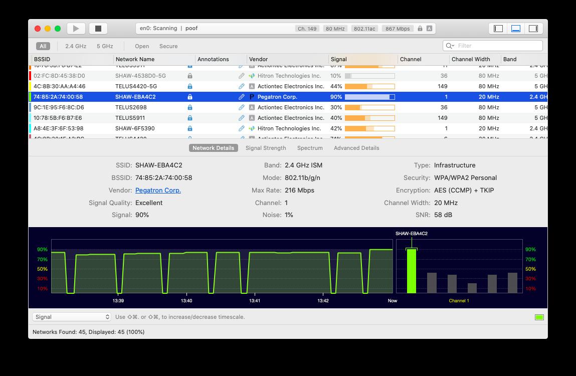 Wifi Explorer monitor WiFi connection Mac