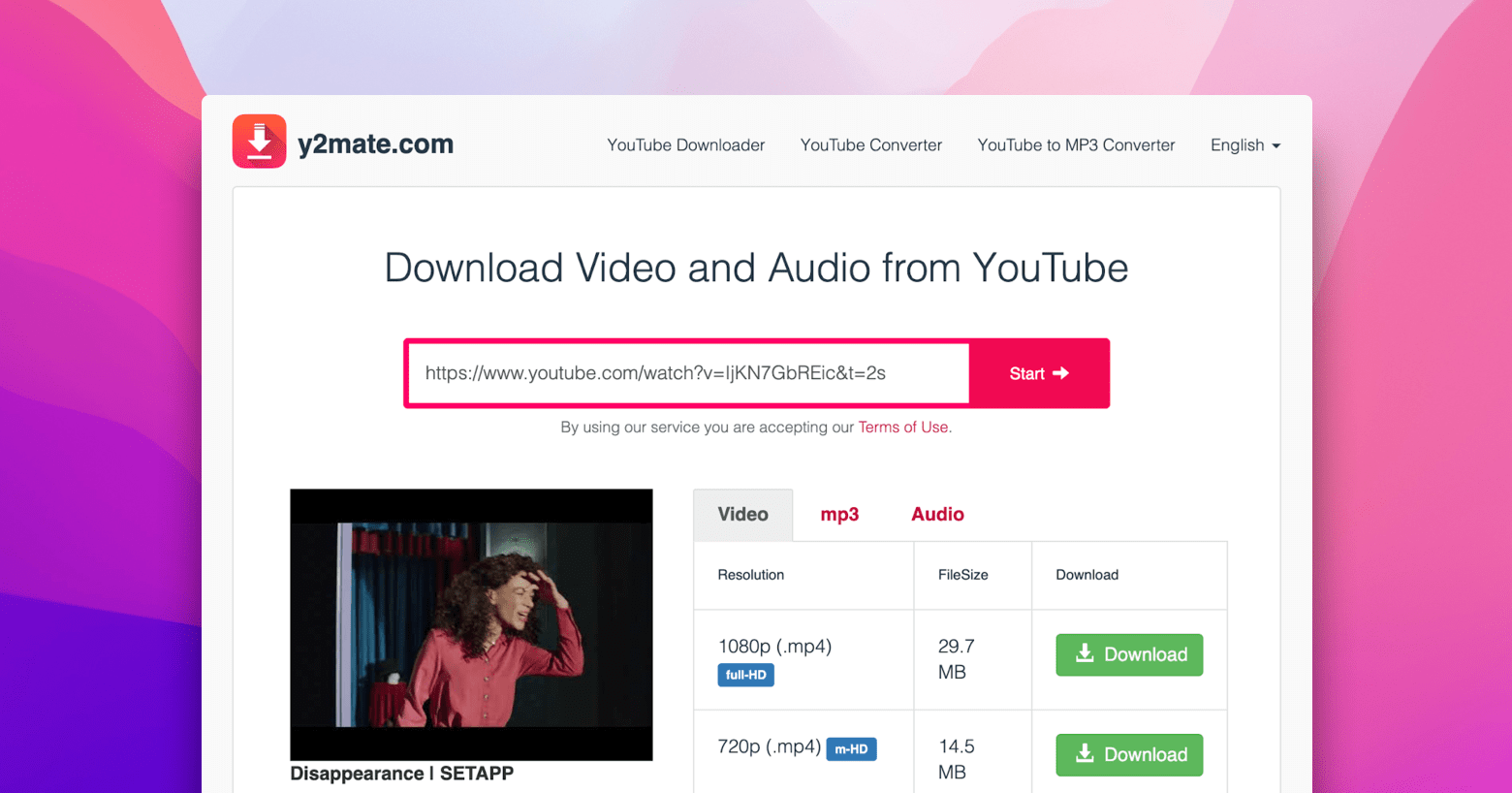 y2mate free Youtube downloader