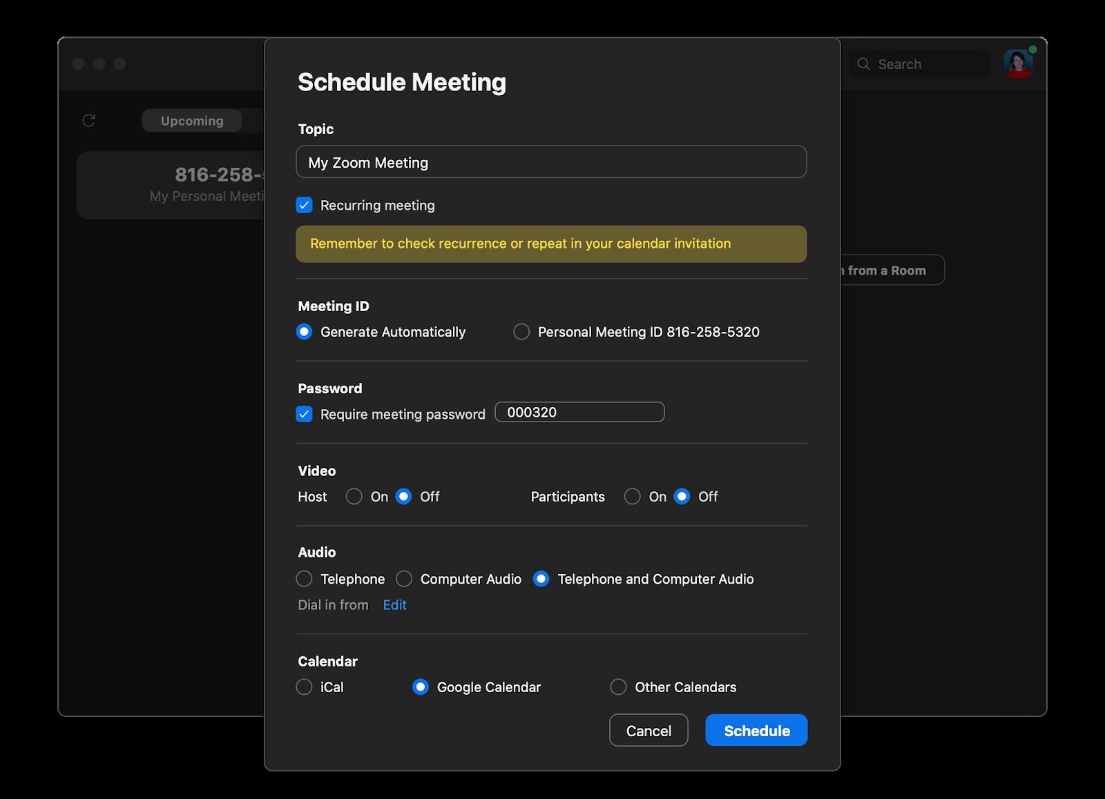 Zoom app schedule meeting