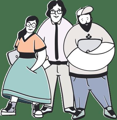 Team of three people
